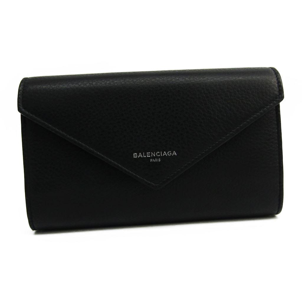 バレンシアガ(Balenciaga) ペーパー マニー 371661 レディース カーフスキン 長財布(二つ折り) ブラック 【中古】