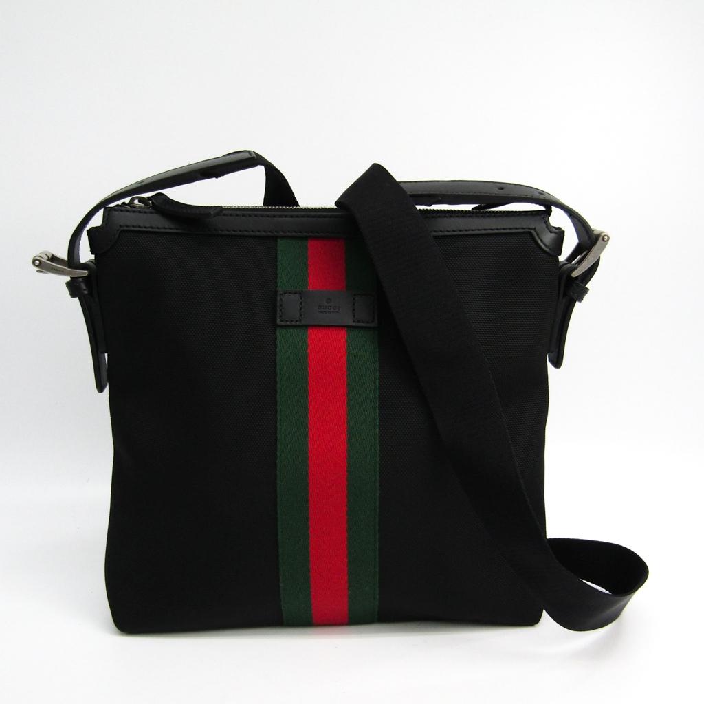 グッチ(Gucci) 387111 ナイロン,ウェビング ショルダーバッグ ブラック 【中古】