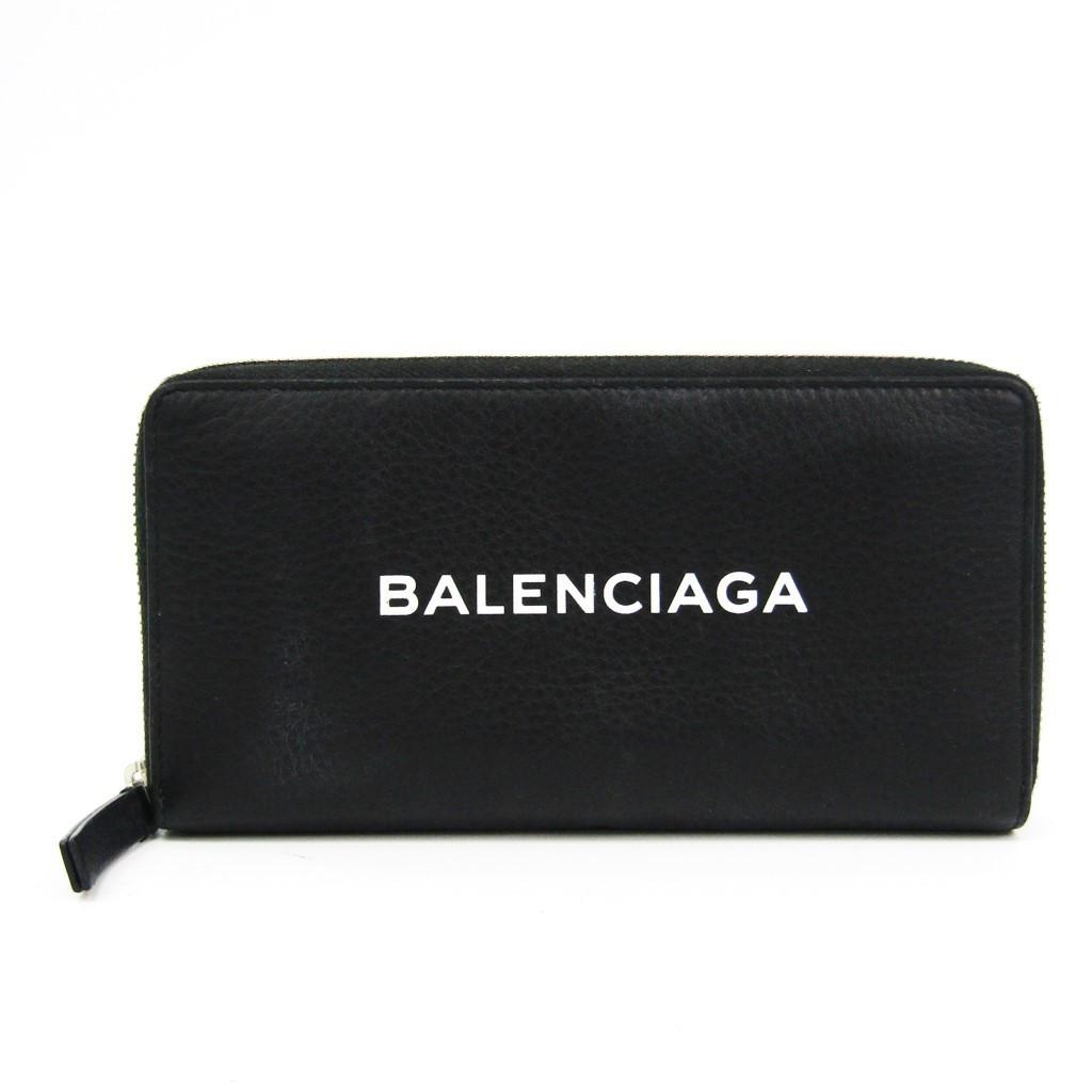 バレンシアガ(Balenciaga) 490625 メンズ レザー 長財布(二つ折り) ブラック 【中古】