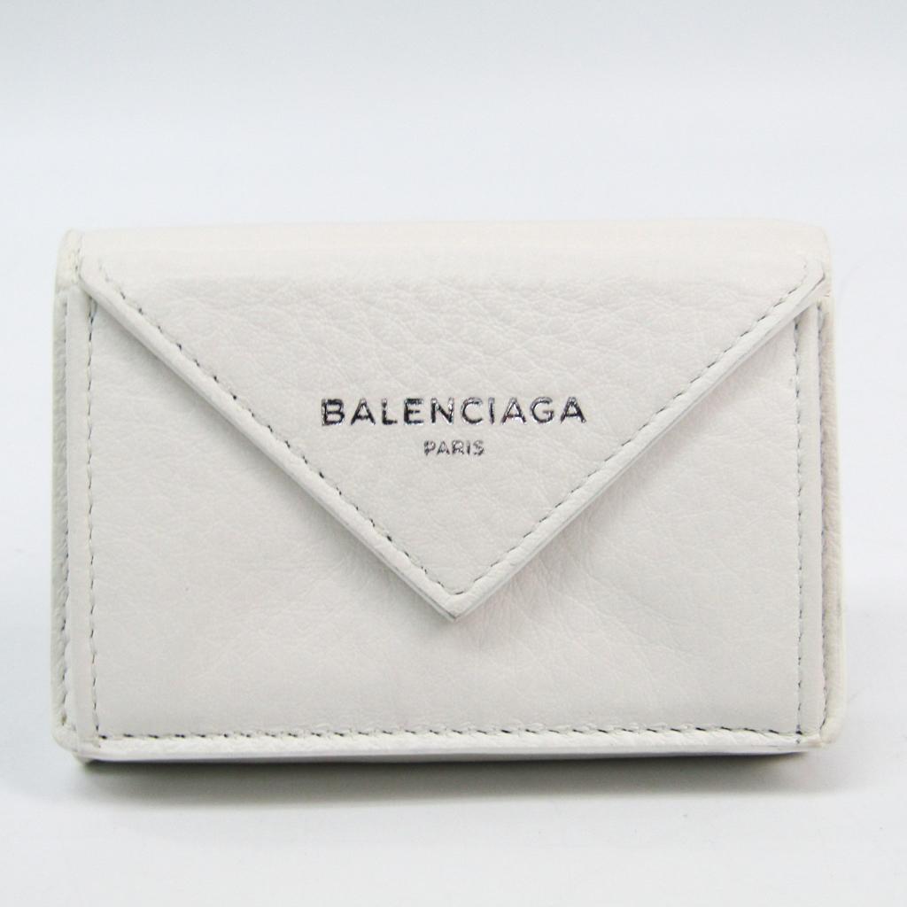 バレンシアガ(Balenciaga) ペーパー ミニウォレット 391446 レディース レザー 財布(三つ折り) ホワイト 【中古】
