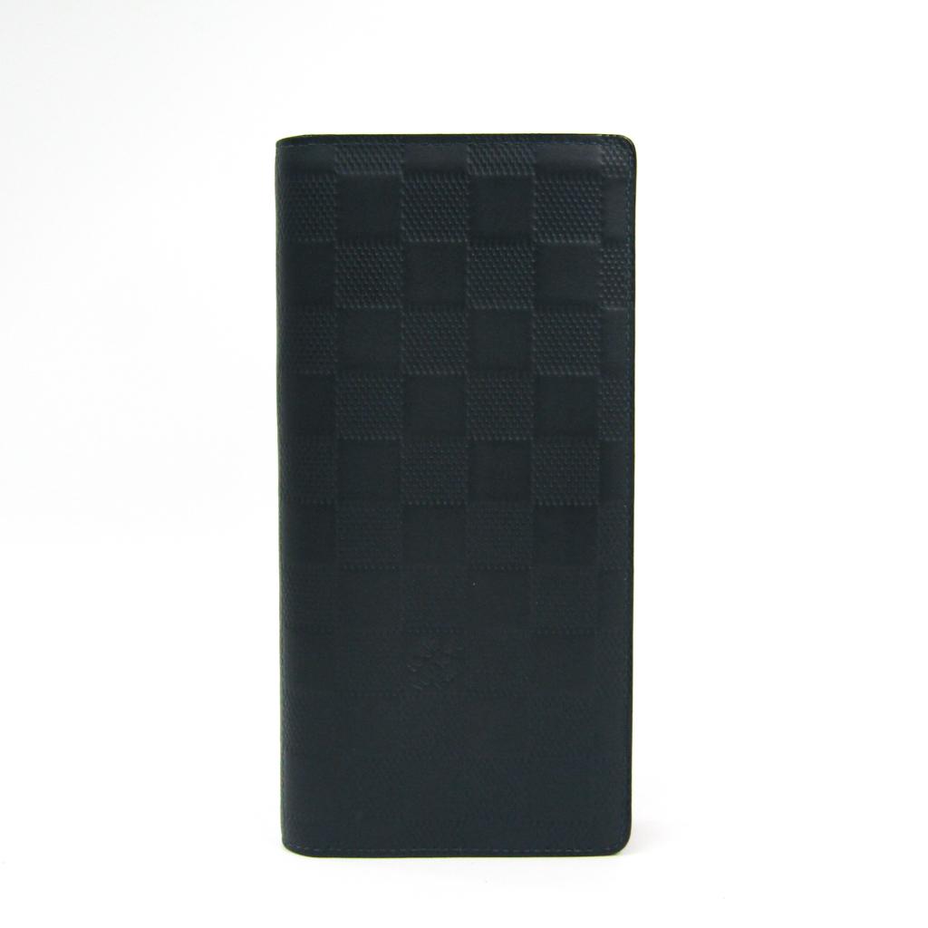 ルイヴィトン(Louis Vuitton) ダミエアンフィニ ポルトフォイユ・ブラザ N63119 メンズ ダミエアンフィニ 長札入れ(二つ折り) ネイビー 【中古】