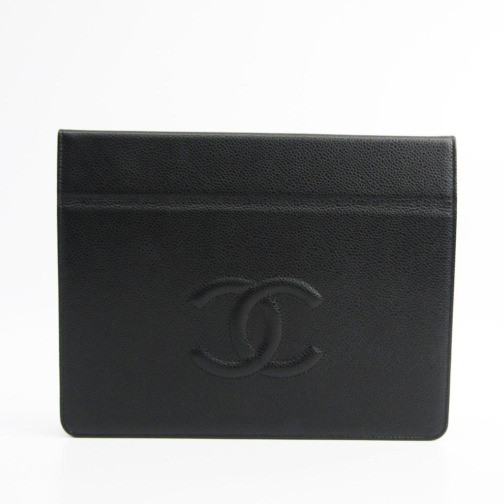 シャネル(Chanel) キャビア・スキン ケース iPad 対応 ブラック 【中古】