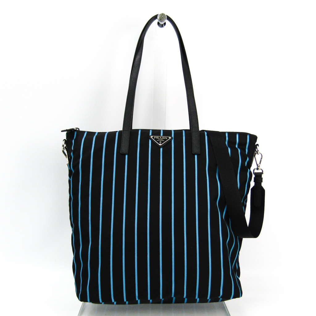 0210ac8a9415 Prada (Prada) 1BG189 Lady's Tessuto stampato, leather tote bag blue, black  ...