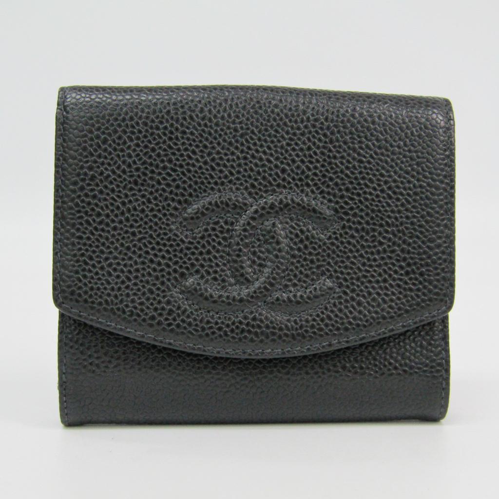 シャネル(Chanel) キャビアスキン 財布(二つ折り) ブラック 【中古】
