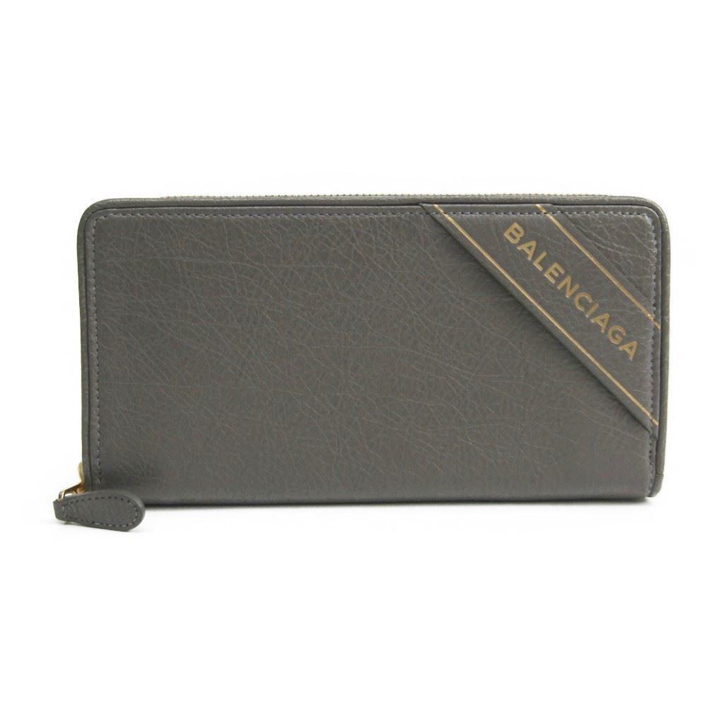 バレンシアガ(Balenciaga) ブランケット 466544 レディース レザー 長財布(二つ折り) グレー 【中古】