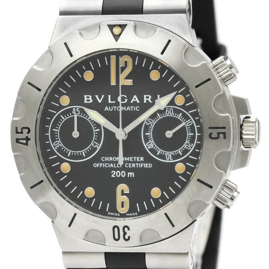 ブルガリ (BVLGARI) ディアゴノ スクーバ クロノグラフ ステンレススチール ラバー 自動巻き メンズ 時計 SC38S (外装仕上げ済み)【中古】