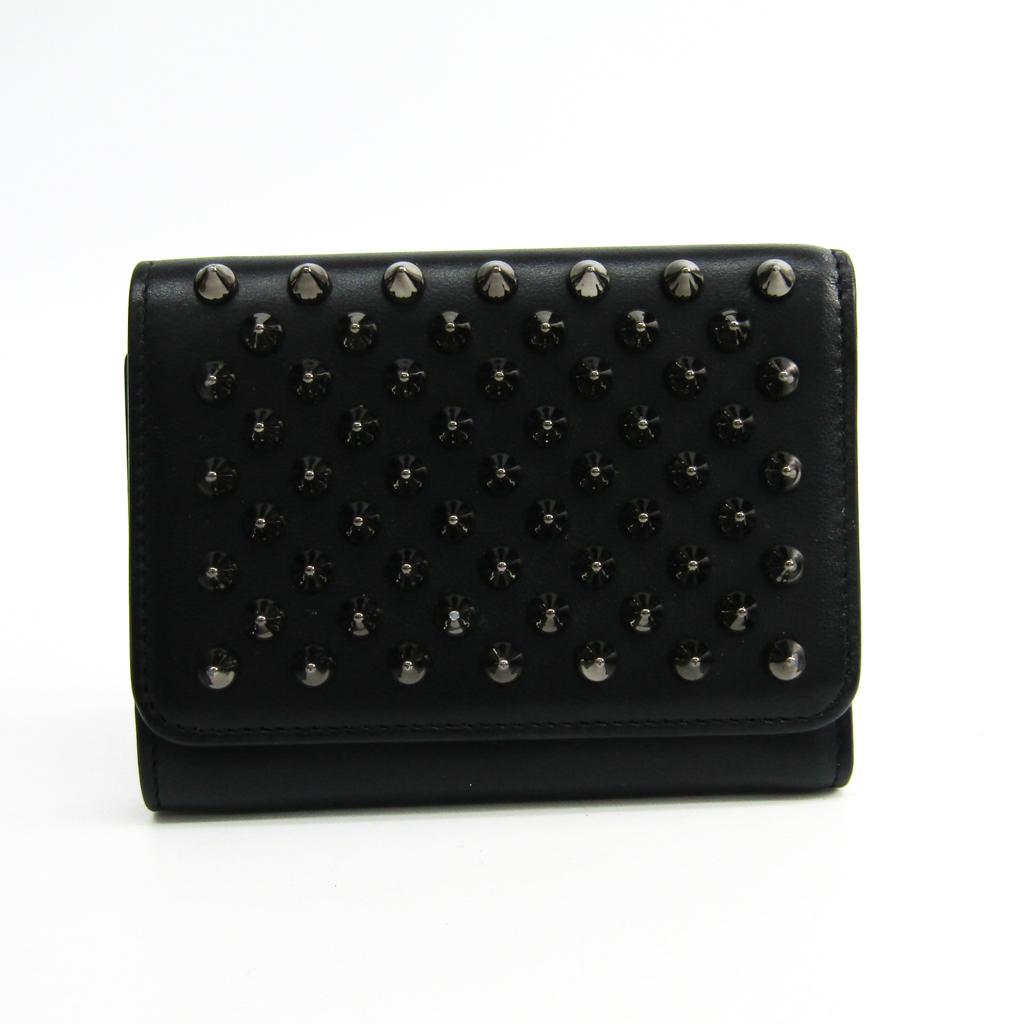 クリスチャン・ルブタン(Christian Louboutin) Macaron Mini 3165040B078 レディース カーフスキン 財布(三つ折り) ブラック 【中古】