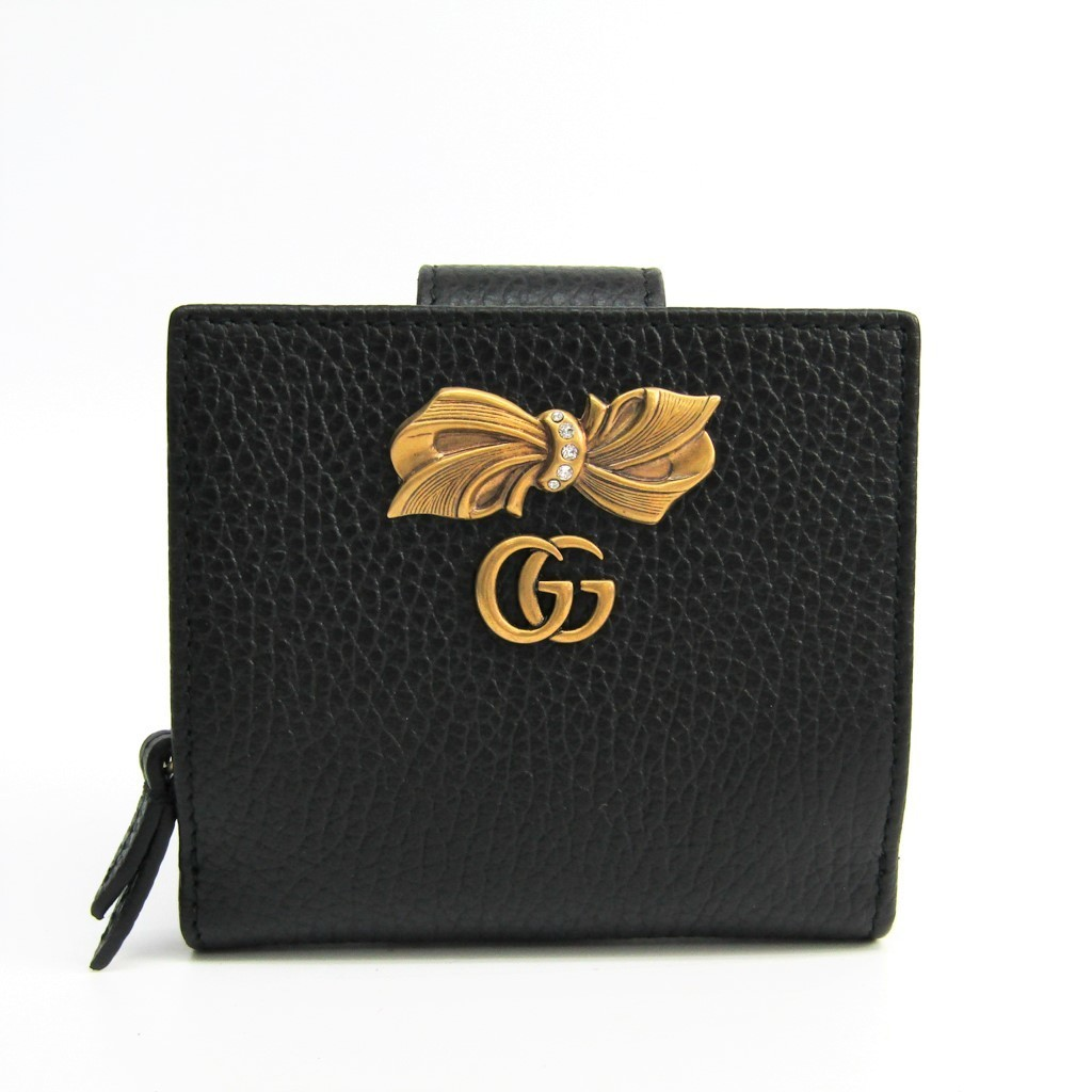 6f036a93143e Gucci (Gucci) bow tie leather wallet 524298 Lady's leather wallet black ...