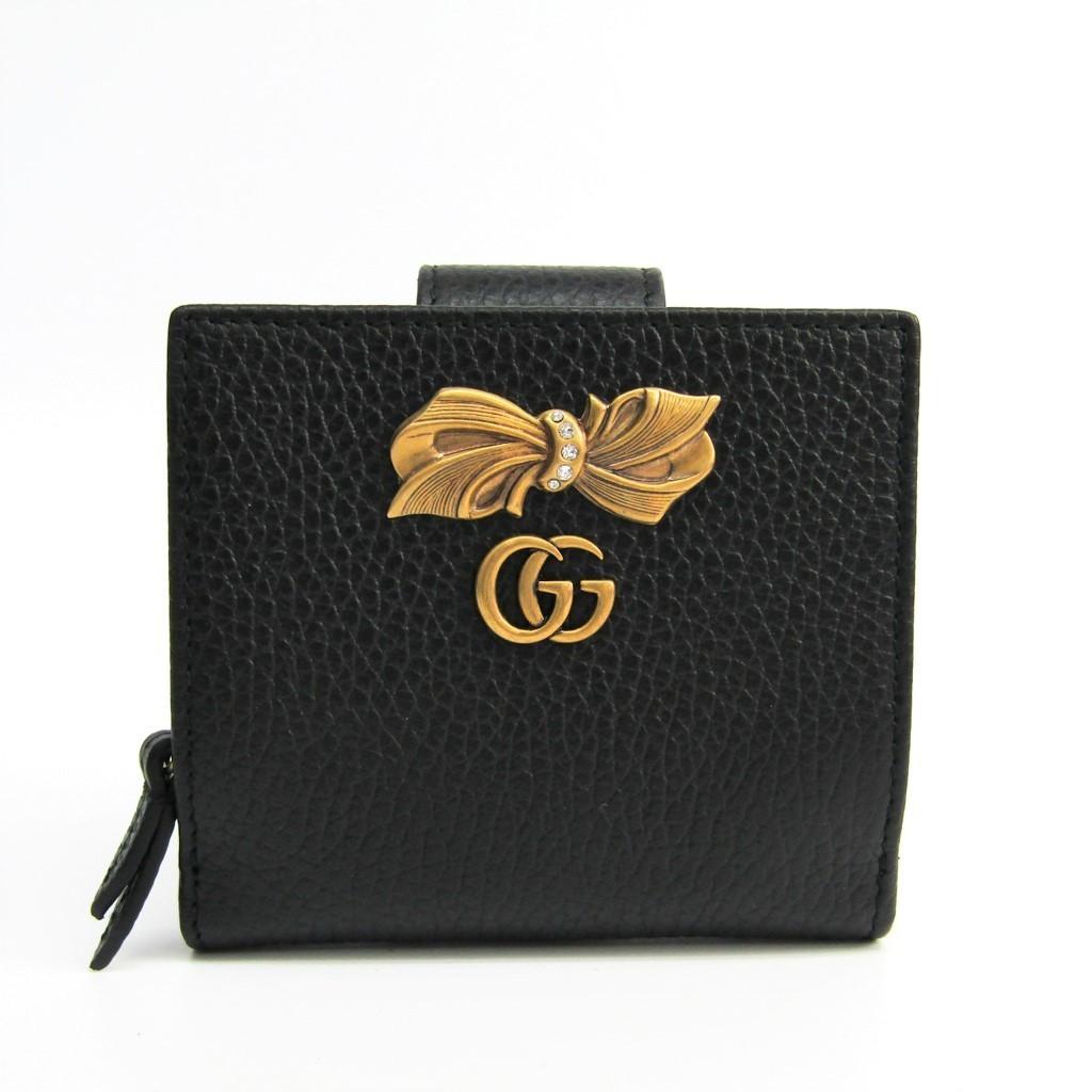 グッチ(Gucci) ボウ レザー ウォレット 524298 レディース レザー 財布 ブラック 【中古】