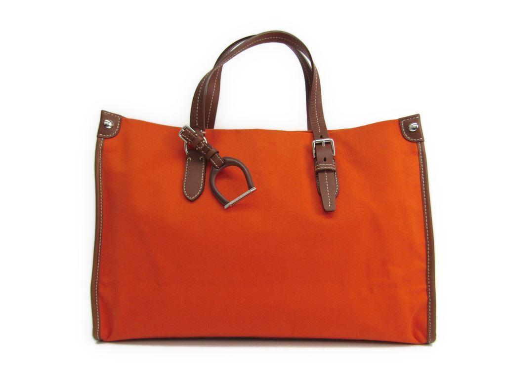 【中古】 ラルフ・ローレン(Ralph Lauren) レディース キャンバス トートバッグ ブラウン,オレンジ