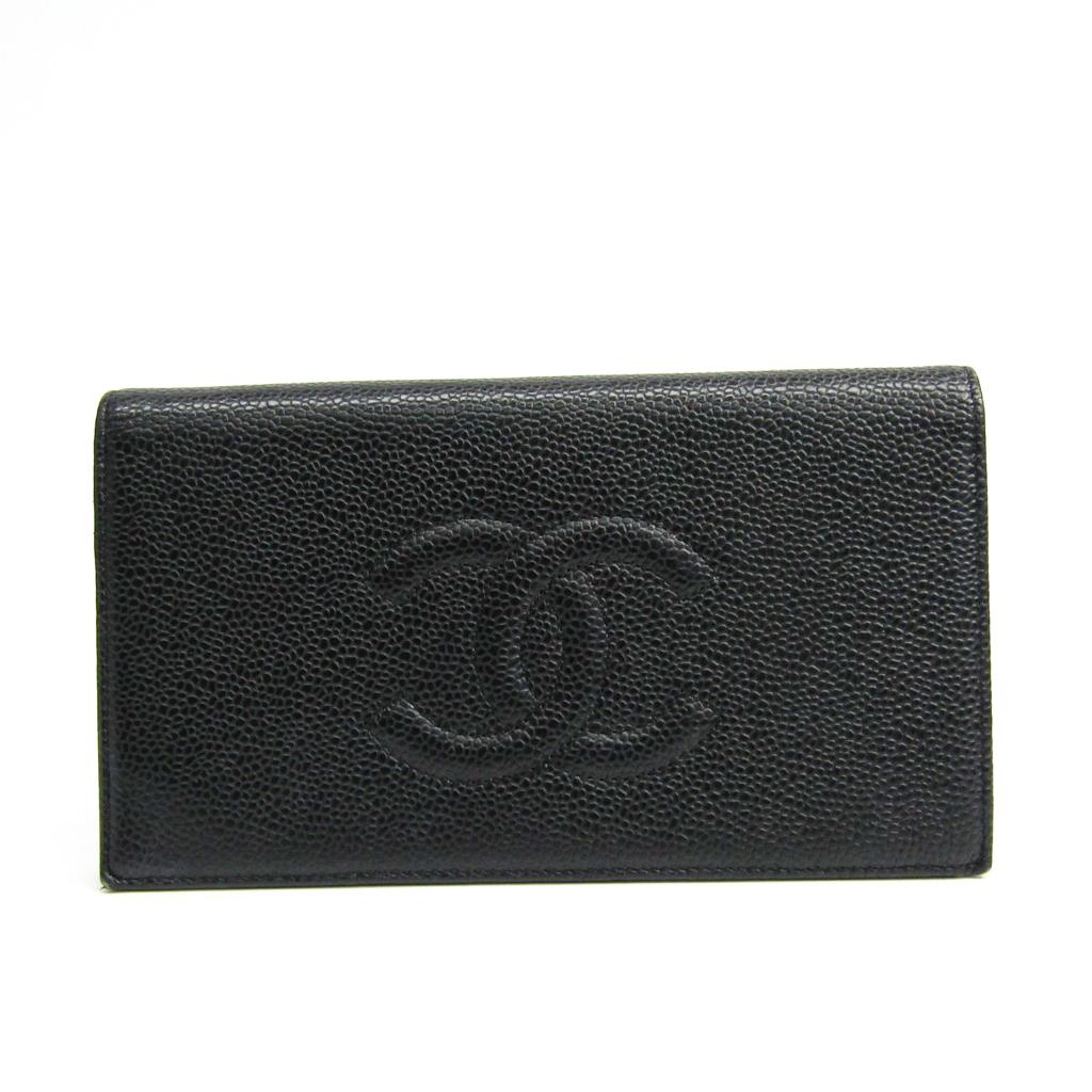 シャネル(Chanel) A48651 レディース キャビアスキン 長財布(二つ折り) ブラック 【中古】