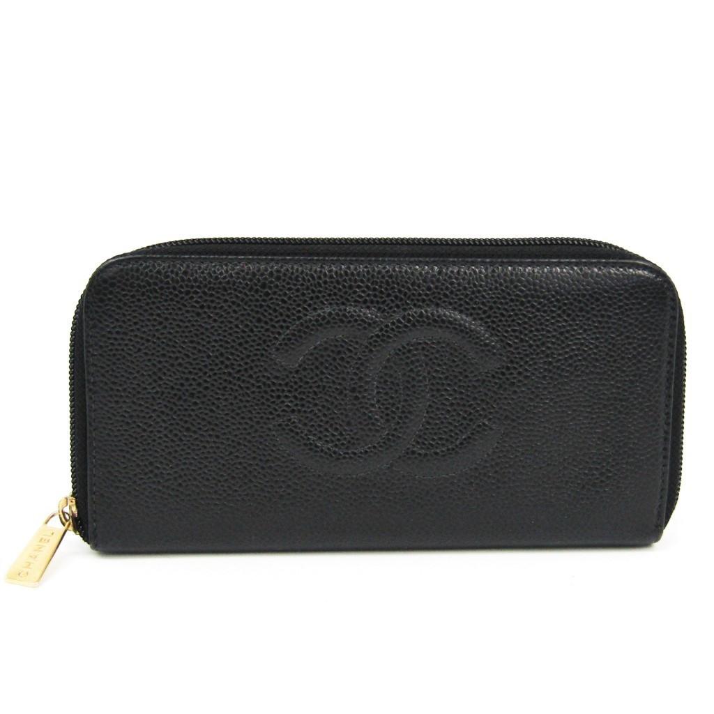 シャネル(Chanel) ラウンドジップ A13228 レディース キャビアスキン 長財布(二つ折り) ブラック 【中古】