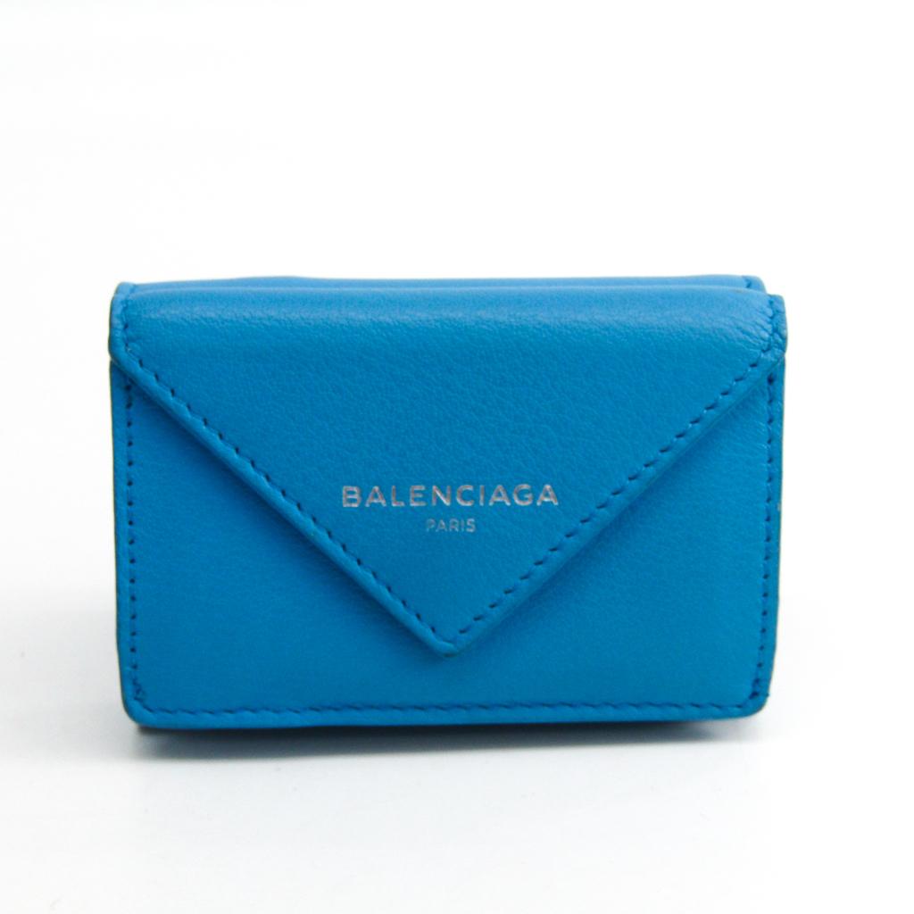 バレンシアガ(Balenciaga) ペーパー ミニウォレット 391446 レディース レザー 財布(三つ折り) ライトブルー 【中古】