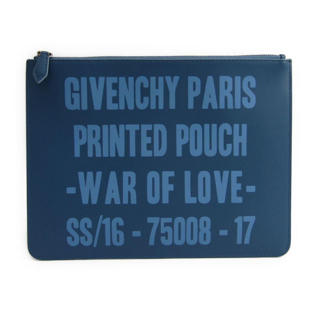 ジバンシィ(Givenchy) BK06072023 ユニセックス レザー クラッチバッグ ブルー 【中古】