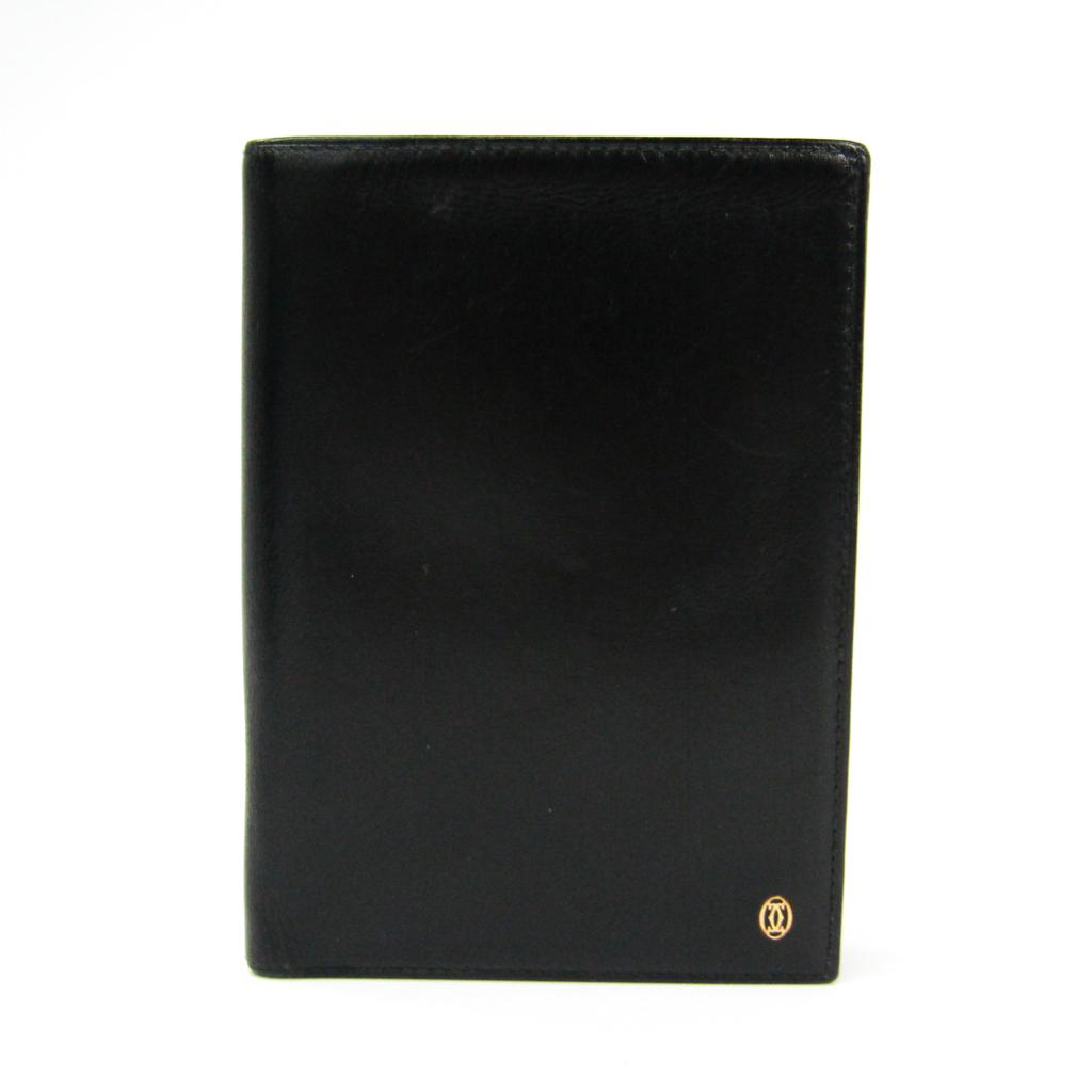 カルティエ(Cartier) レザー パスポートケース ブラック パシャ 【中古】
