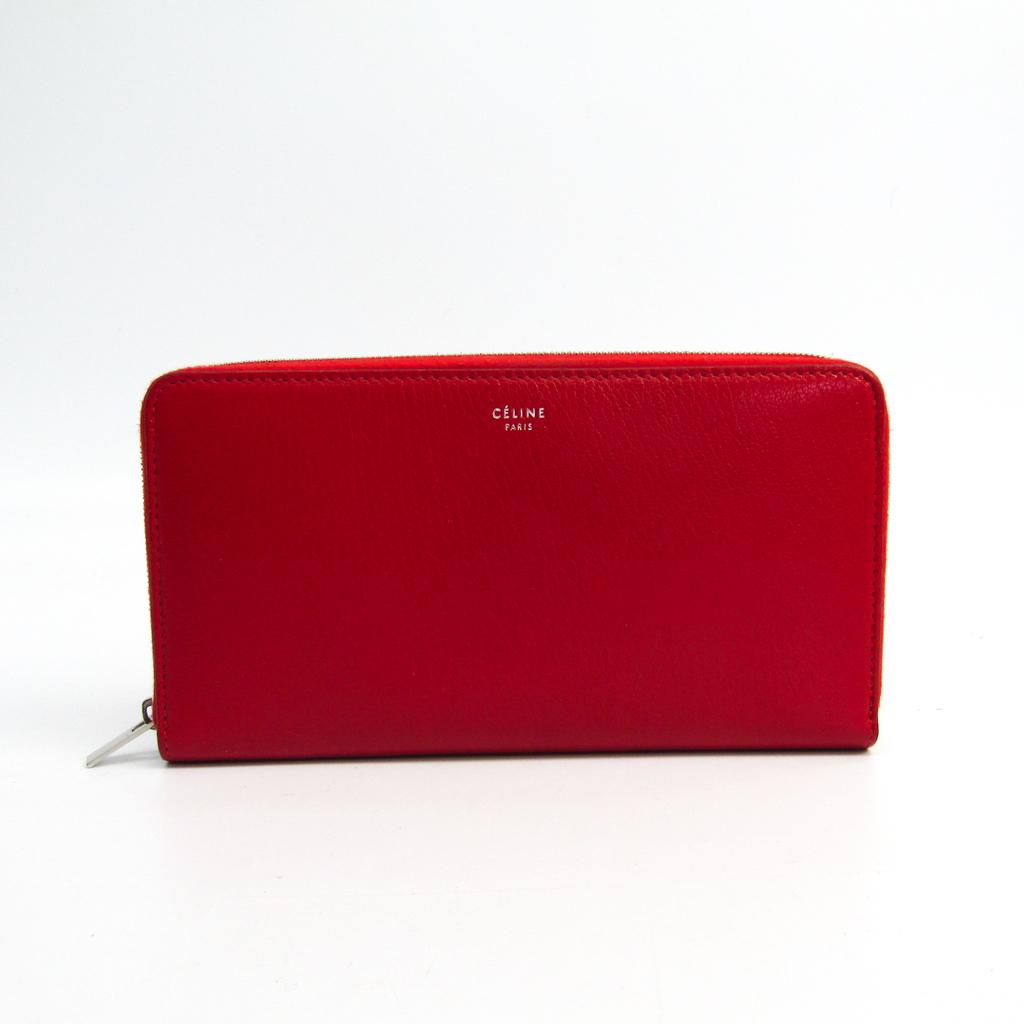 セリーヌ(Celine) ラージ ジップドマルチファンクション 105003 レディース レザー 長財布(二つ折り) レッド 【中古】