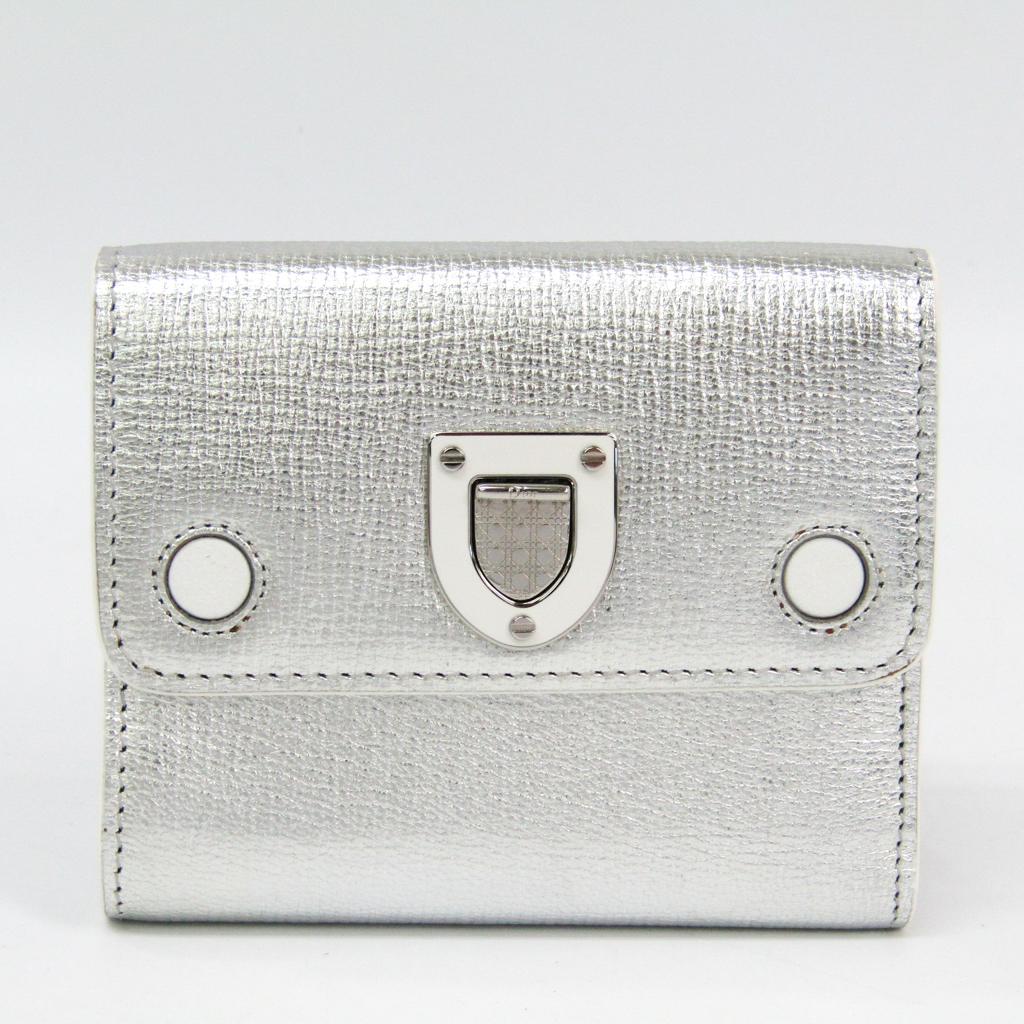 クリスチャン・ディオール(Christian Dior) ディオラマ レディース レザー 財布(三つ折り) シルバー 【中古】