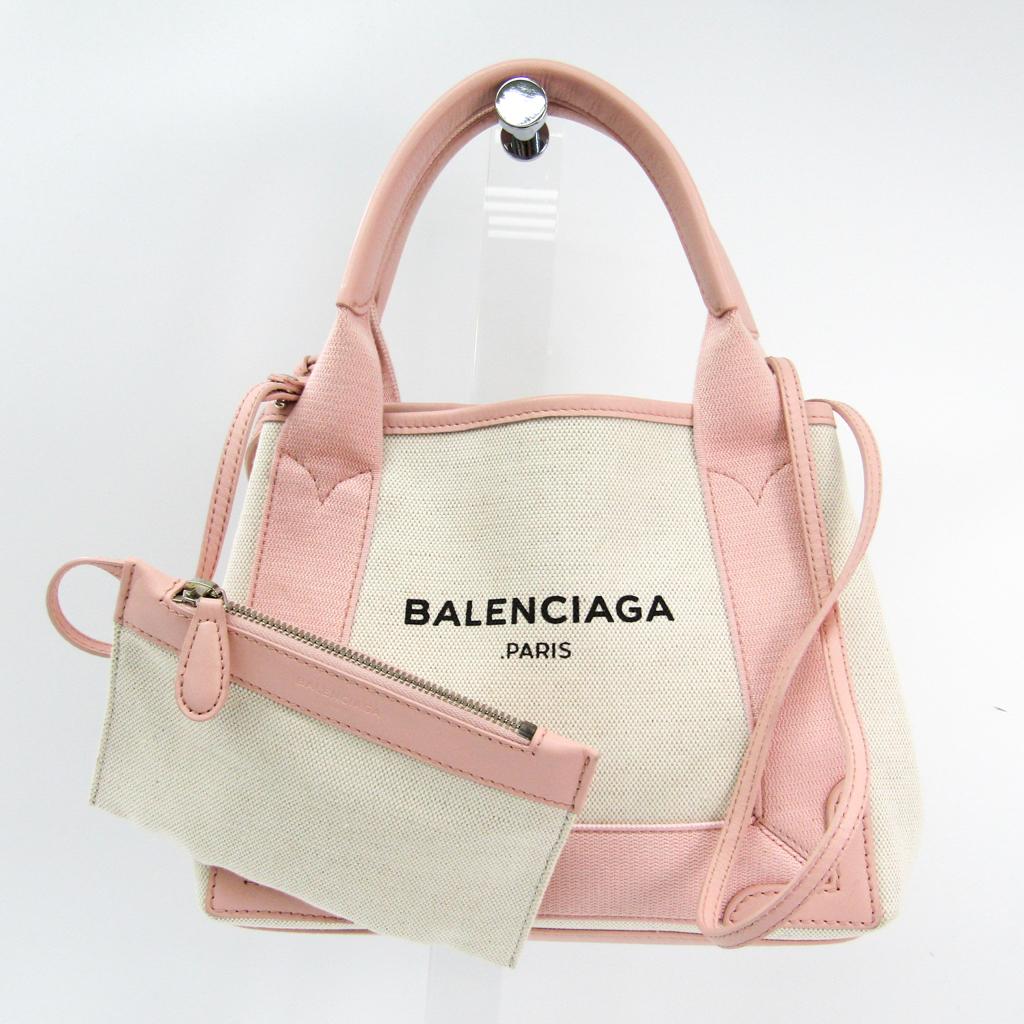 バレンシアガ(Balenciaga) ネイビーカバスXS 390346 レディース キャンバス,レザー ハンドバッグ アイボリー,ライトピンク 【中古】