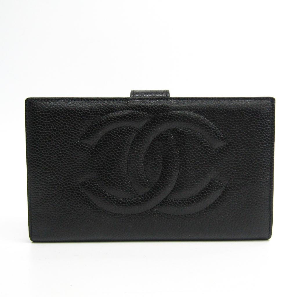 シャネル(Chanel) A01429 レディース キャビアスキン 長財布(二つ折り) ブラック 【中古】