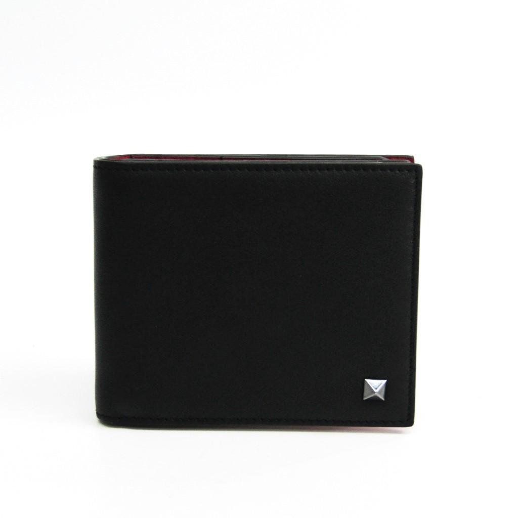 ヴァレンティノ(Valentino) メンズ カーフスキン 札入れ(二つ折り) ブラック,レッド 【中古】