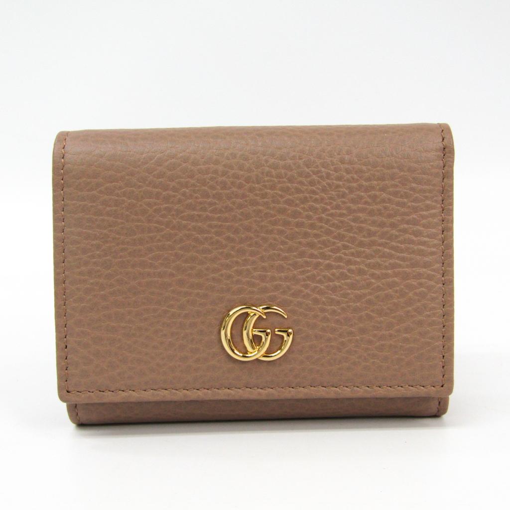 グッチ(Gucci) GGマーモント 474746 レディース レザー 財布(三つ折り) ベージュ 【中古】