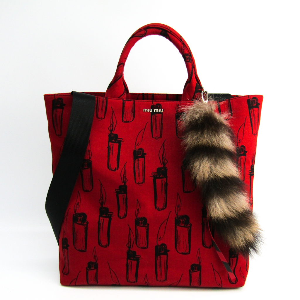 edc842ab250c ミュウ ミュウ (Miu Miu) ERI WAKIYAMA DENIM PRINT + FUR FUOCO 5BG022 Lady s canvas  tote bag black