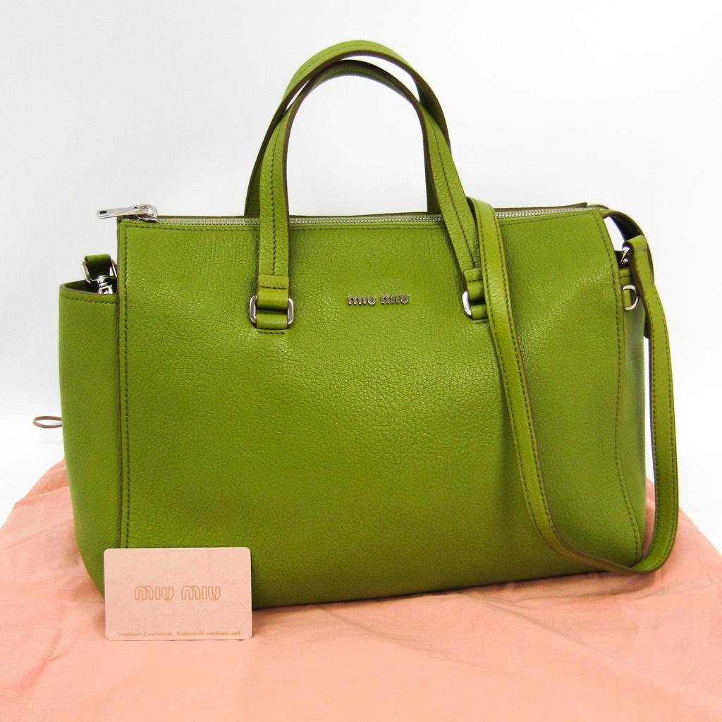 4e69afe1221d eLADY  ミュウ ミュウ (Miu Miu) 5BB004 Lady s Madras handbag light green