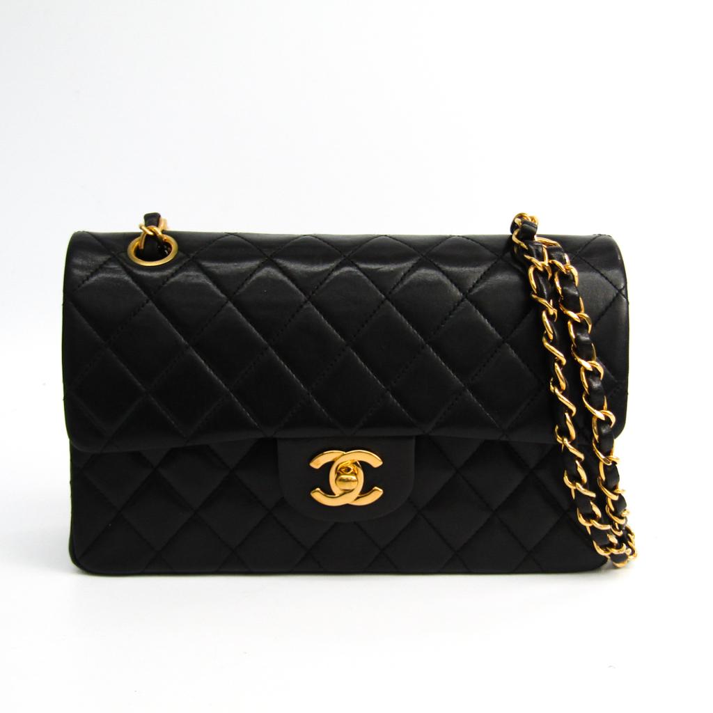 シャネル(Chanel) マトラッセ クラシックフラップスモール A01113 レザー ショルダーバッグ ブラック 【中古】
