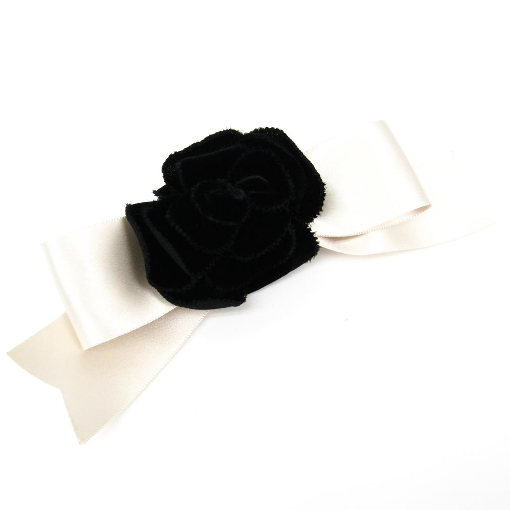 シャネル(Chanel) ベルベット カメリア レディース バレッタ ブラック,ホワイト 【中古】