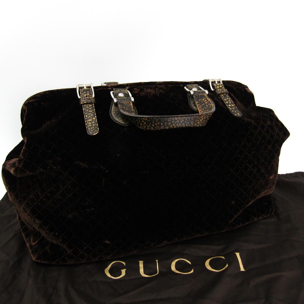 1820668e093b Gucci (Gucci) Diamante doctors bag 298175 men's velvet, leather Boston bag  dark brown