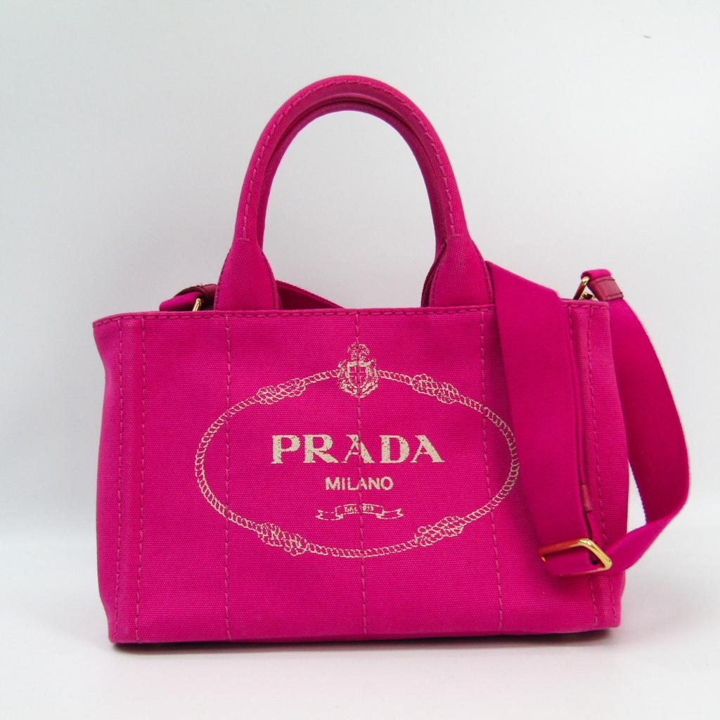 プラダ(Prada) カナパ 1BG439 レディース キャンバス トートバッグ Fuxia(フューシャ) 【中古】