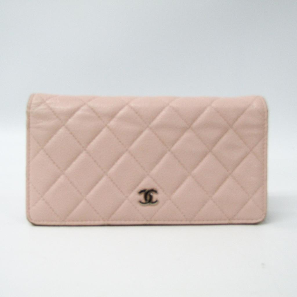 シャネル(Chanel) A31509 レディース キャビアスキン 長財布(二つ折り) ライトピンク 【中古】
