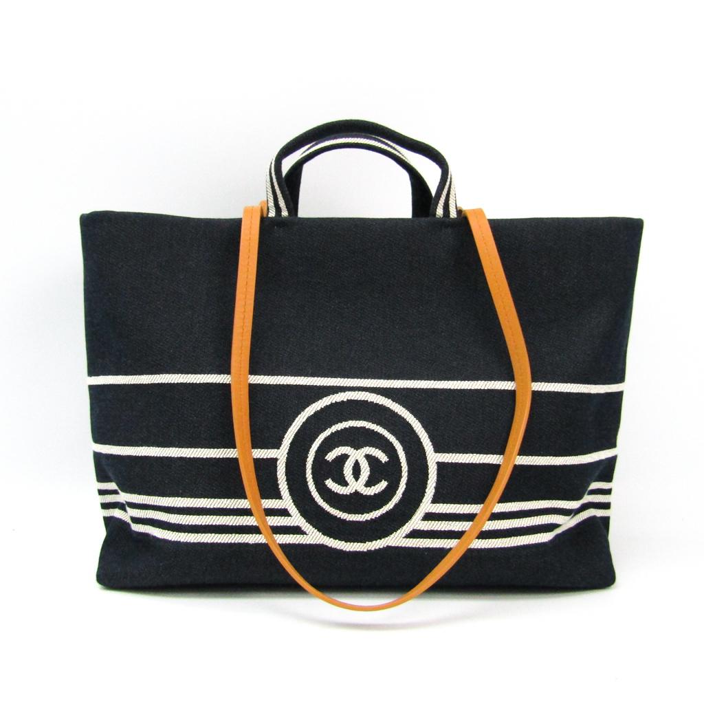 シャネル(Chanel) ココ A92240 レディース デニム,レザー トートバッグ ダークネイビー,ホワイト 【中古】