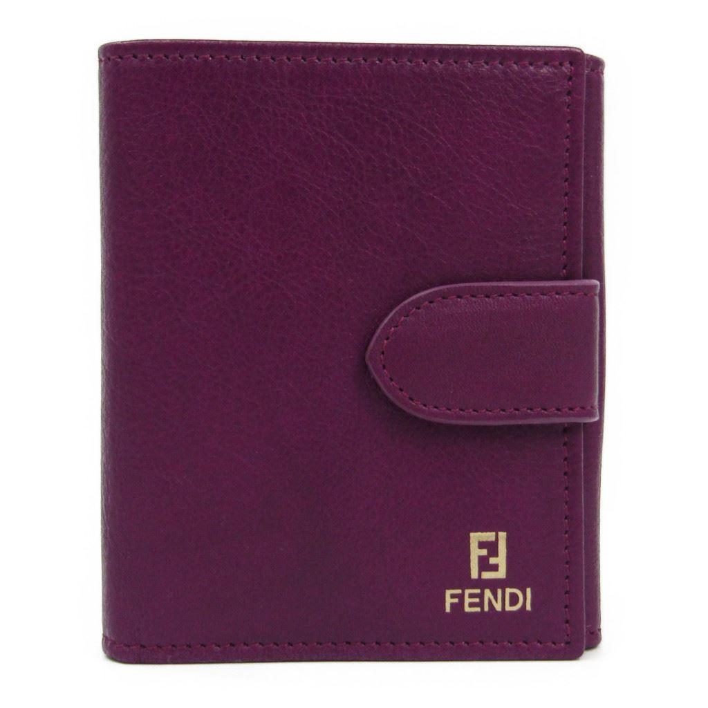 フェンディ(Fendi) 8M0188 レディース レザー 財布(二つ折り) パープル 【中古】