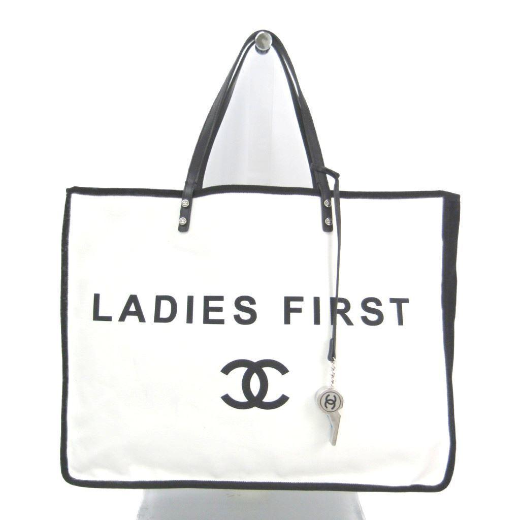シャネル(Chanel) A92885 レディース キャンバス レザー トートバッグ ホワイト,ブラック 【中古】