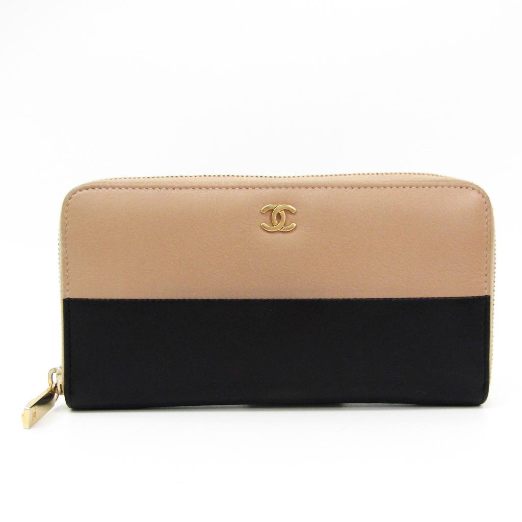 シャネル(Chanel) A81108 レディース レザー 長財布(二つ折り) ベージュ,ブラック 【中古】