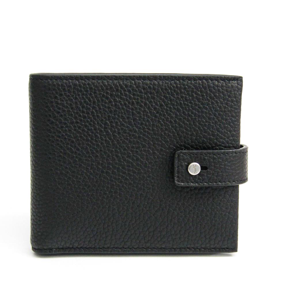 サン・ローラン(Saint Laurent) 507618 ユニセックス 型押しカーフ 財布(二つ折り) ブラック 【中古】