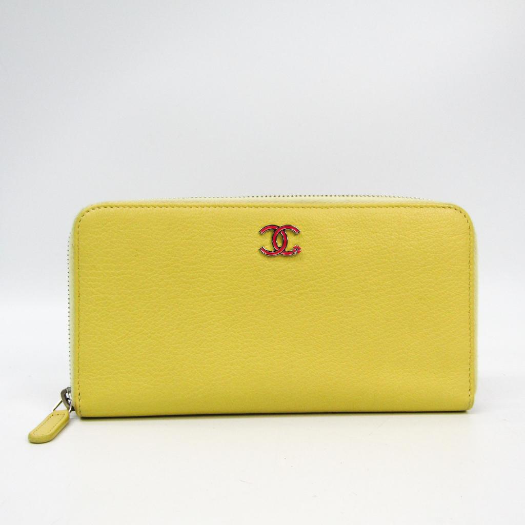 シャネル(Chanel) レディース カーフスキン 長財布(二つ折り) イエロー 【中古】