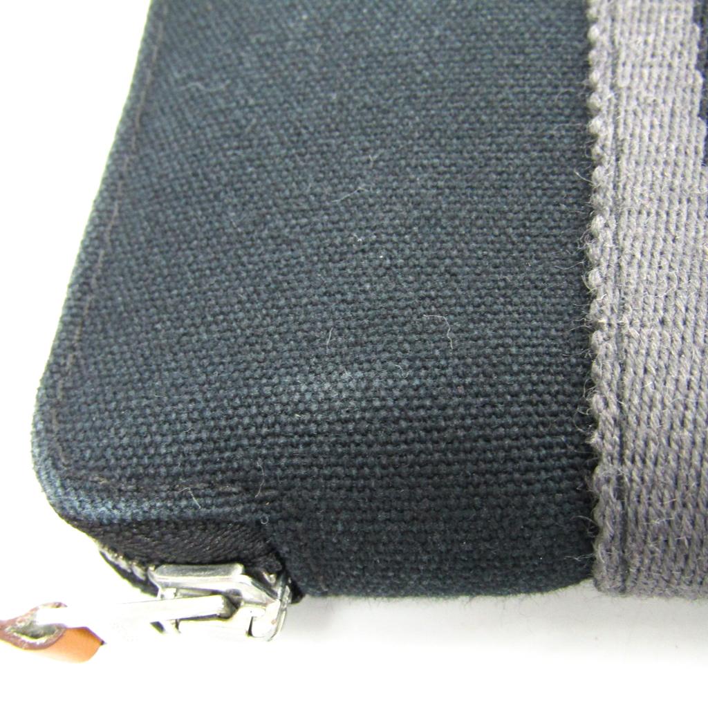 8f197d9b7a63 エルメス フール・トゥ パース PM ユニセックス コットン 財布(二つ折り) ブラック,グレー 【中古】