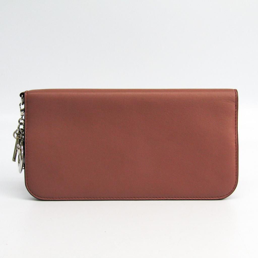 クリスチャン・ディオール(Christian Dior) ディオリッシモ レディース レザー 長財布(二つ折り) ピンクベージュ 【中古】