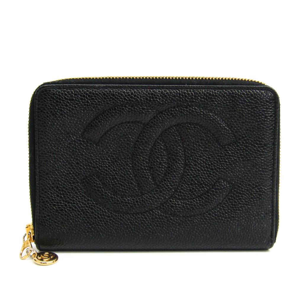 シャネル(Chanel) レディース キャビアスキン 中財布(二つ折り) ブラック 【中古】