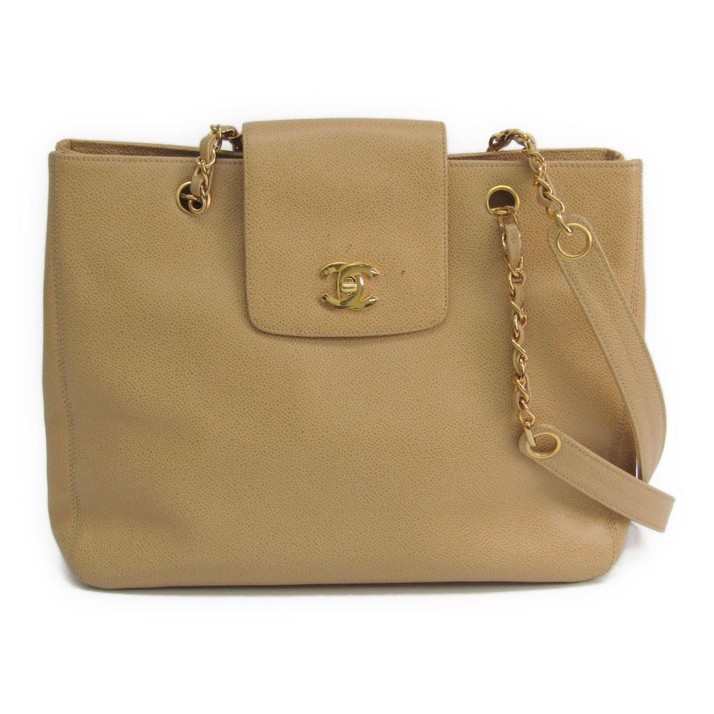 【中古】 シャネル(Chanel) キャビア・スキン レディース キャビアスキン ショルダーバッグ,トートバッグ ベージュ