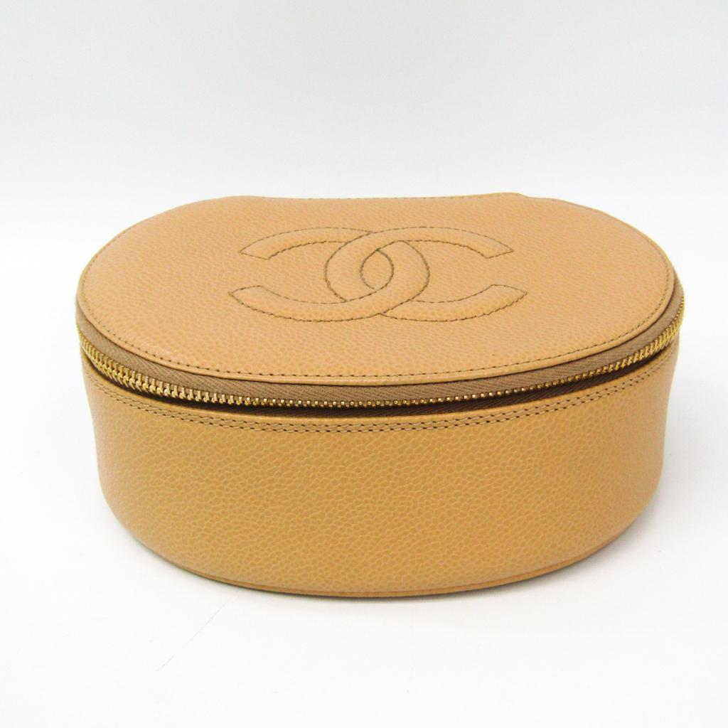 シャネル(Chanel) レディース キャビアスキン ポーチ,洗面具入れ/化粧ポーチ ベージュ 【中古】