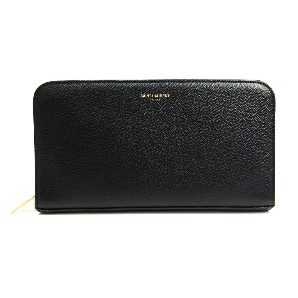 サン・ローラン(Saint Laurent) 328558 ユニセックス 型押しカーフ 長財布(二つ折り) ブラック 【中古】
