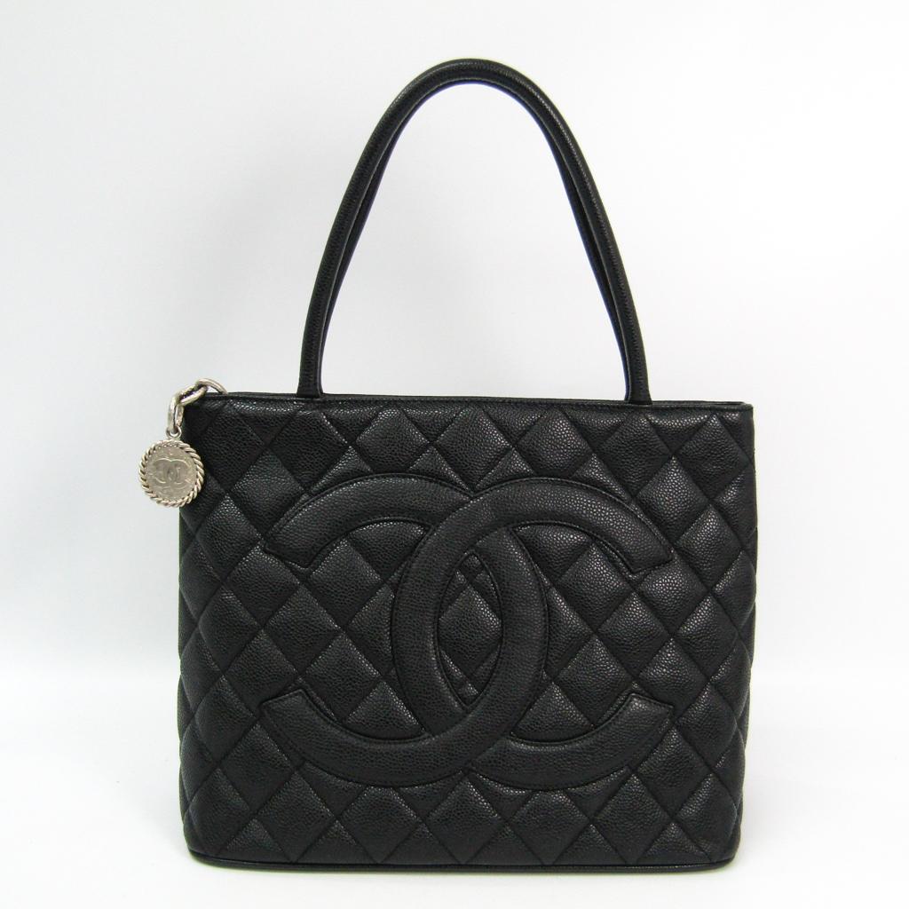 シャネル(Chanel) キャビア・スキン A01804 1804復刻トート レザー ハンドバッグ ブラック 【中古】