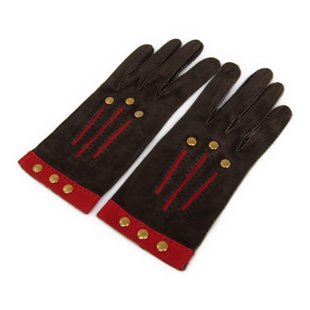 3be5c9c153ce エルメス(Hermes) レディース 手袋 ブラウン,レッド レザー 6 1/2サイズ 【】