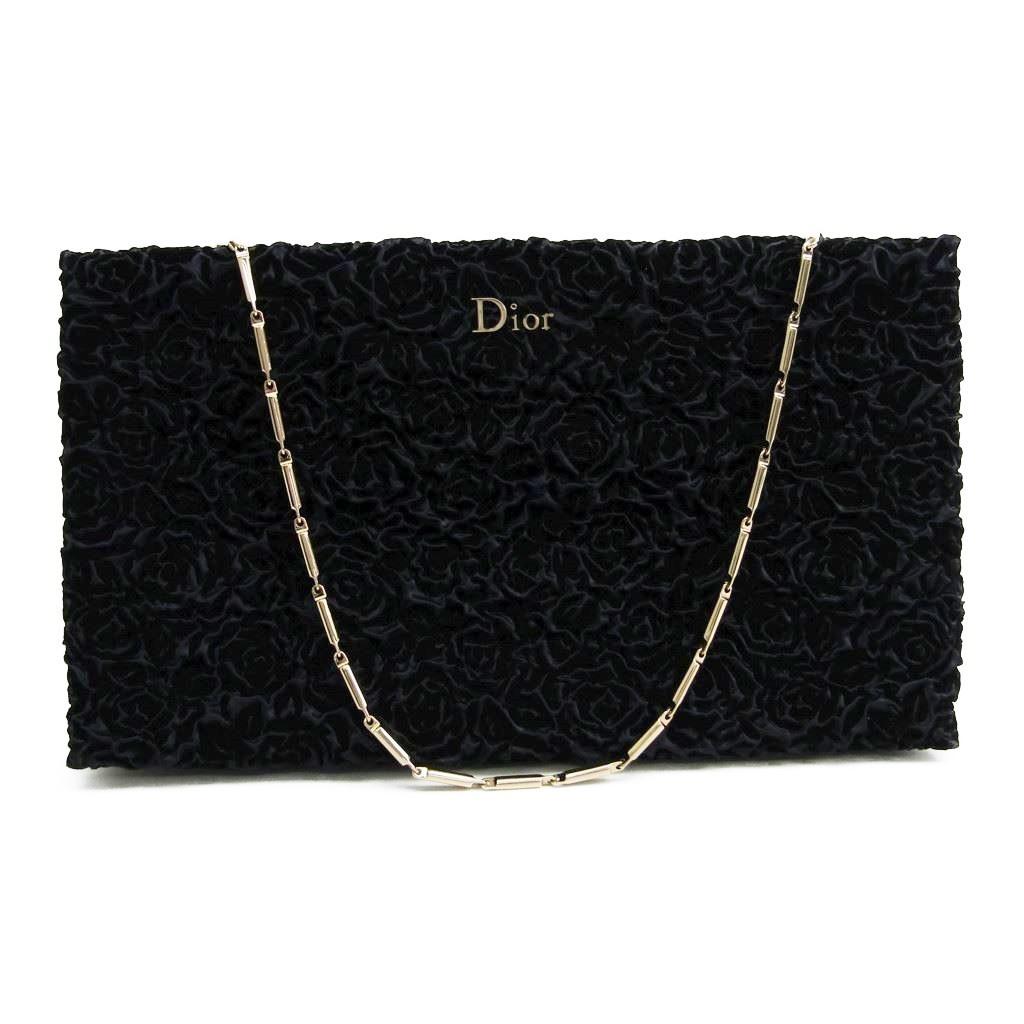 クリスチャン・ディオール(Christian Dior) レディース ベルベット イブニングバッグ ネイビー 【中古】