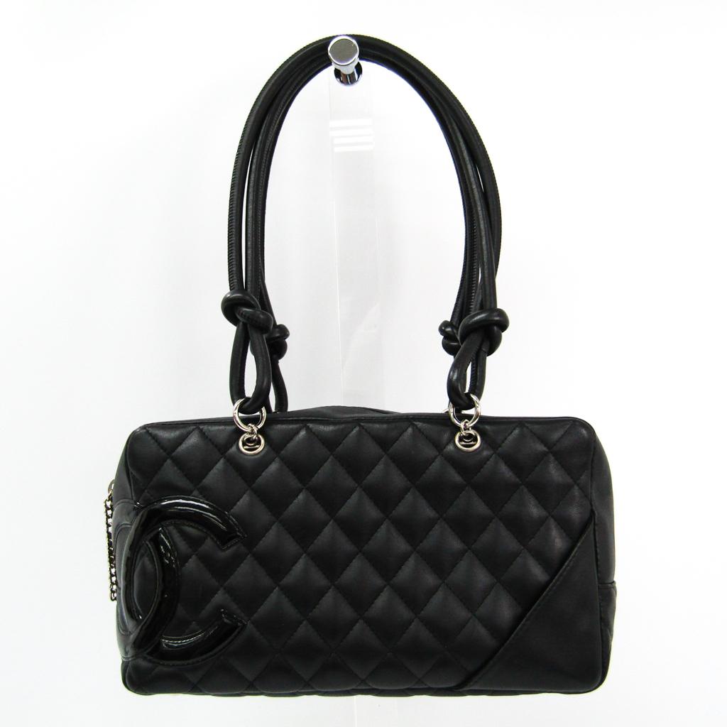 シャネル(Chanel) カンボン・ライン A25171 ボーリングバッグ レディース レザー ショルダーバッグ ブラック 【中古】