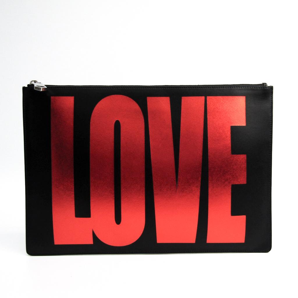 ジバンシィ(Givenchy) レザー クラッチバッグ ブラック,レッド 【中古】