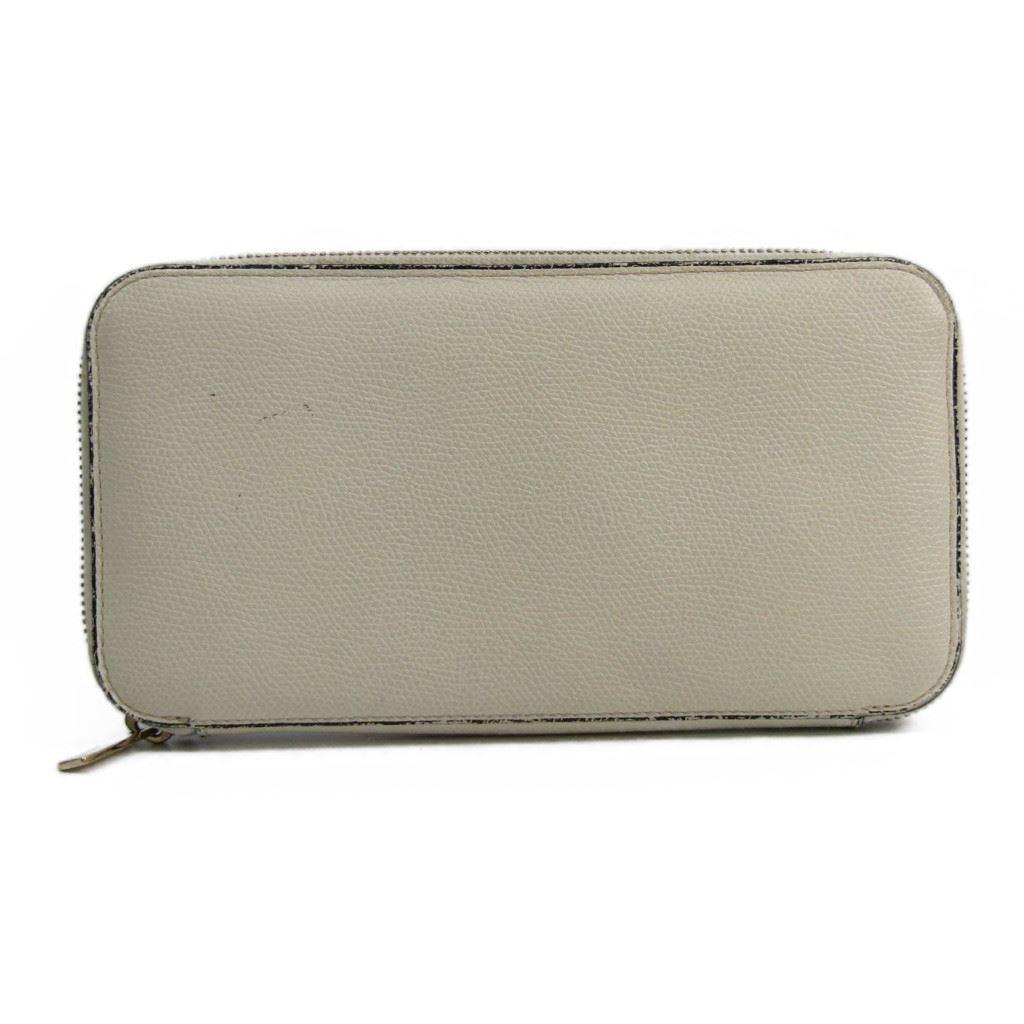 ヴァレクストラ(Valextra) V9L06 ユニセックス 型押しレザー 長財布(二つ折り) ホワイト 【中古】